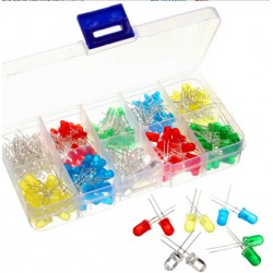 300pcs 3mm 5mm 5 Colors LED Light-emitting Diode Assorted Kit