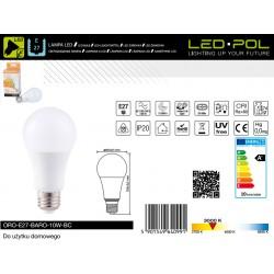 Lâmpada E27 LED 5W 3000K 380lm - LED-POL ORO-E27-VITO-5W-BC