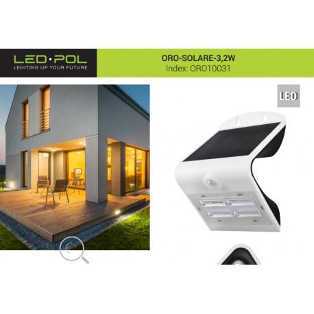 Luminária solar autónoma com sensor de movimento PIR - LED 3.2W 400lm 3000K/6000K - LED-POL