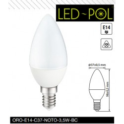 Lâmpada E14 LED 230VAC 3.5W 3000K 249lm - LED-POL ORO-E14-C37-NOTO-3,5W-BC