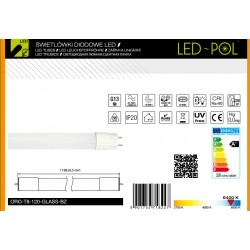 Lâmpada LED tubo T8 120cm 230VAC 18W 6400K 1800lm revestimento em vidro unilateral - LED-POL ORO-T8-120-GLASS-BZ