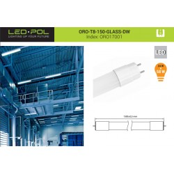 Lâmpada LED tubo T8 150cm 230VAC 24W 4000K 2300lm unilateral - LED-POL ORO-T8-150-GLASS-BD