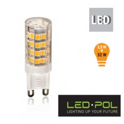Lâmpada G9 LED 230V 3.5W 3000K 350lm - LED-POL ORO-G9-APLA-3,5W-WW