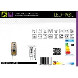 Lâmpada G4 LED 12V 1.5W 2700K 100lm silicone - LED-POL ORO-G4-OLI-1,5W-BC
