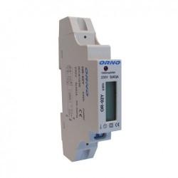 Medidor digital de consumo de energia para calha DIN (monofásico) 5(40)A - Orno OR-WE-501