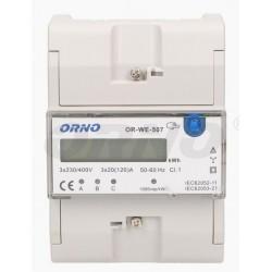 Medidor digital de consumo de energia para calha DIN (trifásico) 3x20(120)A - Orno OR-WE-507