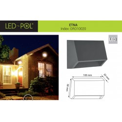 Luminária LED de parede 230VAC 1.6W 4000K 100lm IP54 - LED-POL ETNA ORO10020