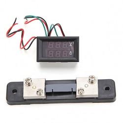 Mini Digital Blue + Red LED DC Current Meter Voltmeter With Ampere Shunt