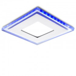 LED Downlight Quadrado Com Vidro Duo (White/ Azul) 130X130Mm 10W 800Lm 30.000H