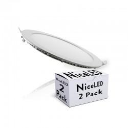 Pack 2 LED Downlight Slimline Circular  225Mm 18W 1409Lm 30.000H